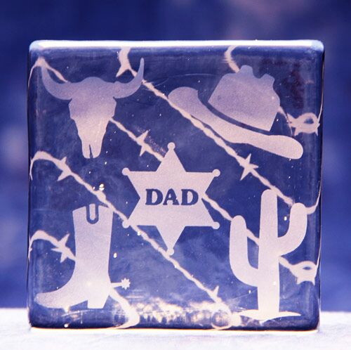 Dad of the West Glass Block