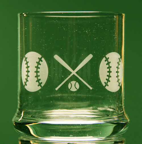 Baseball Rocks Glass
