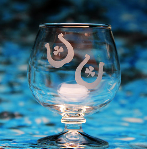 Lucky Horseshoes Glass