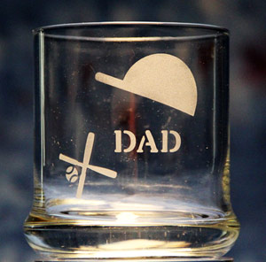 Dad Baseball Rocks Glass