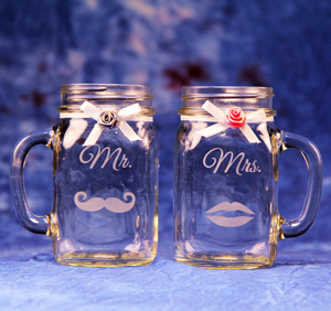 Mr Mrs Mason Jar Mugs