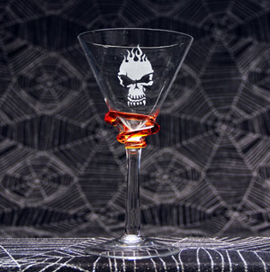 Flaming Skull Martini Glass