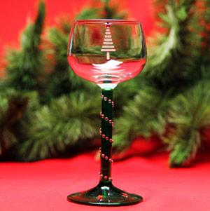 Christmas Tree Wine Glass