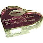 Etched Glass Heart Paperweight