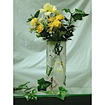 Custom-Cut, Etched Floral Vase