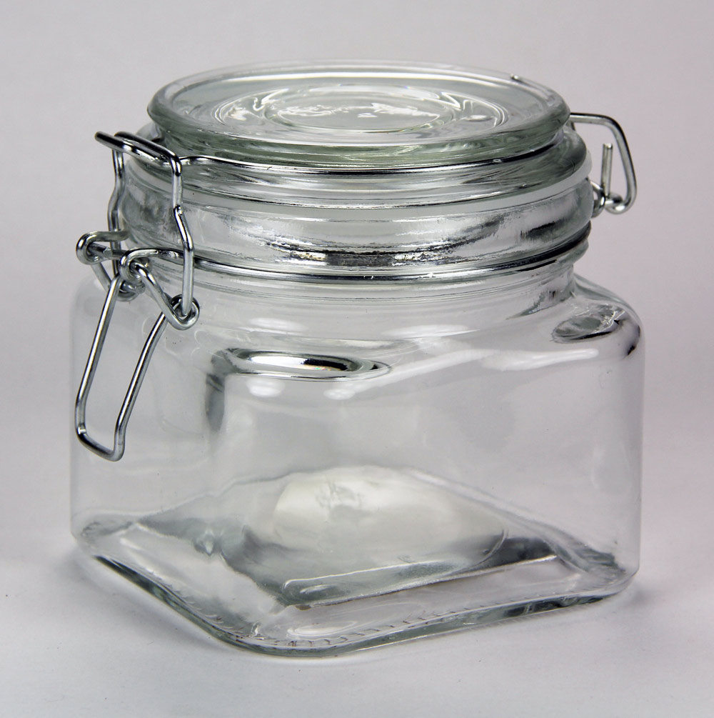 60-3553 - Square Glass Jar with Clasp Lid 20oz