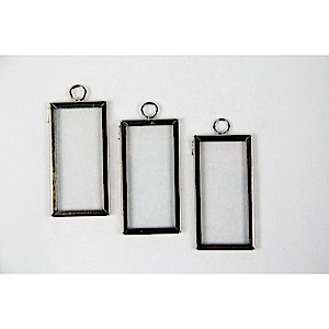 Frame Charm Rectangle 1x2 Silver